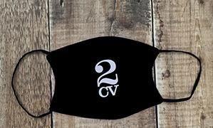 2cv logo face mask white on black