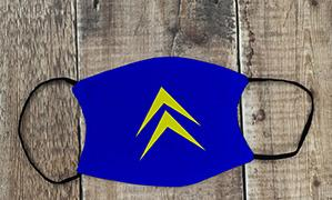 Citroen Chevron face mask yellow on blue