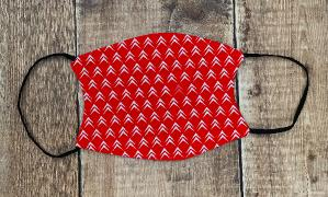 Small Citroen Chevron face mask white on red